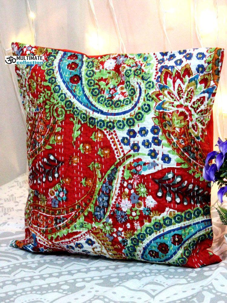 Red Paisley Kantha Decorative Pillow