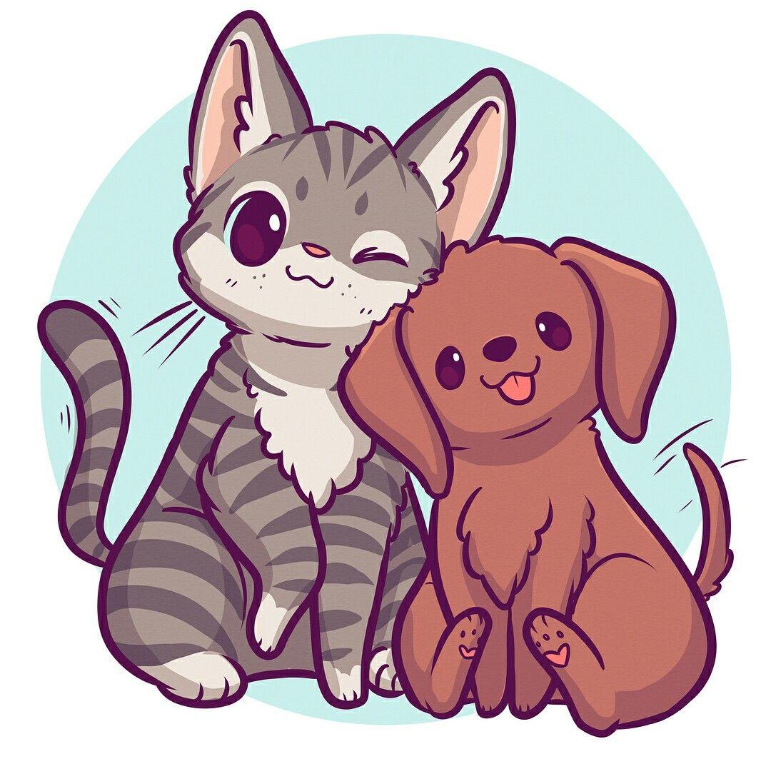 Dog and cat Kitten drawing, Cute kawaii animals, Cute