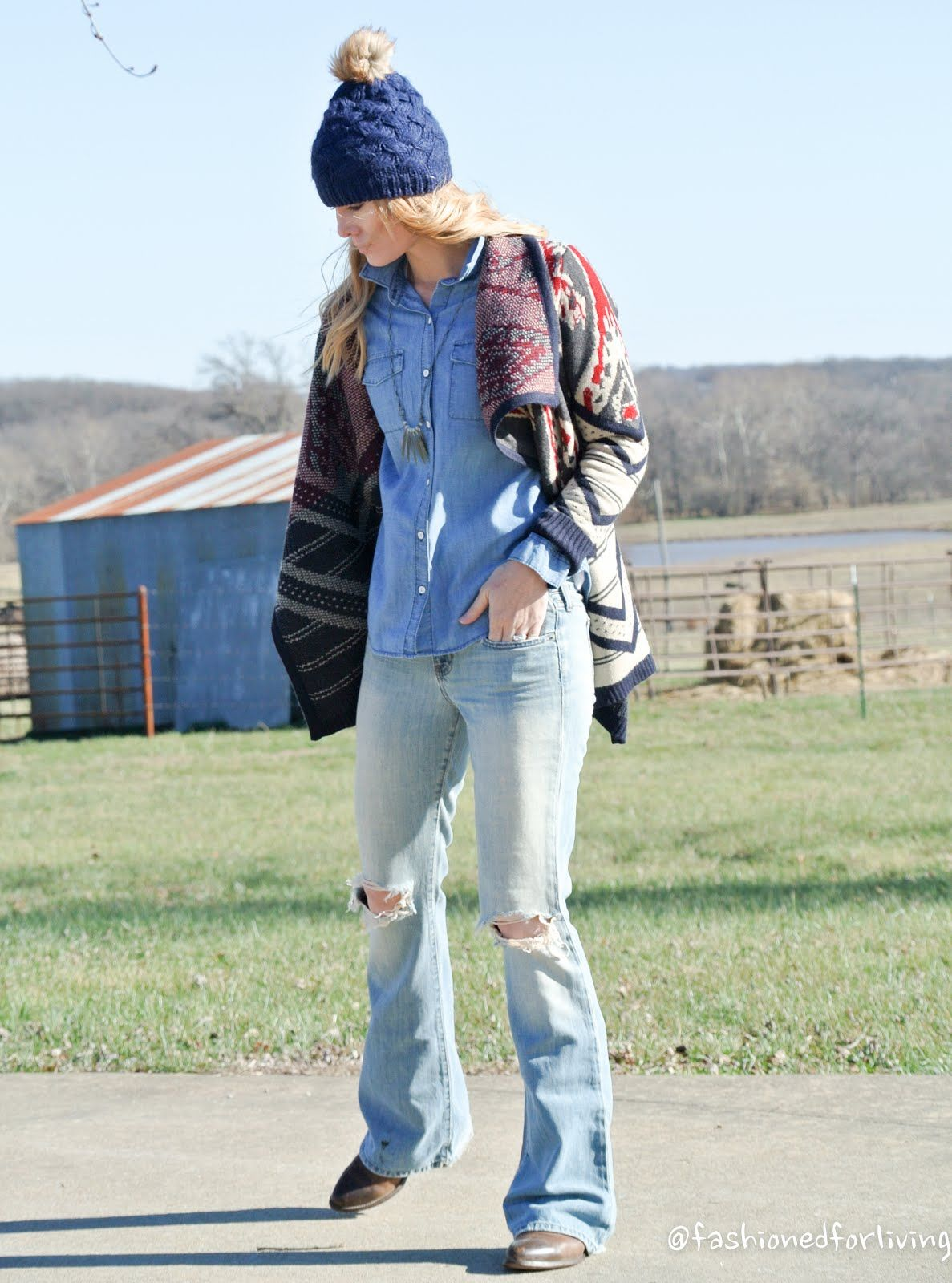 Ripped Flare Jeans, Fair Isle Aztec Cardigan, Denim Chambray Shirt, Pom Hat  and - Ripped Flare Jeans, Fair Isle Aztec Cardigan, Denim Chambray Shirt