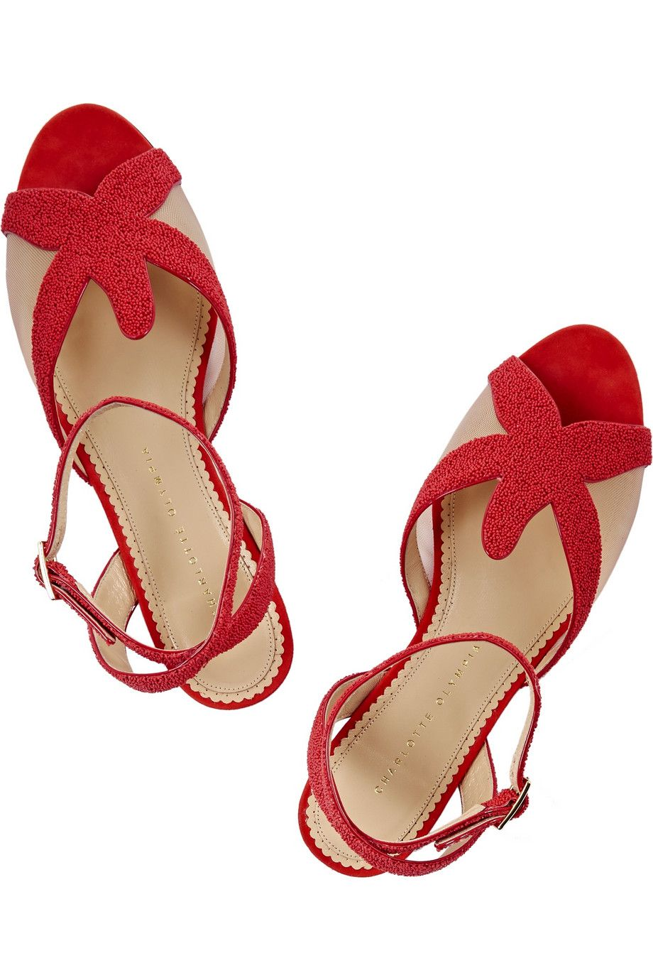 Charlotte OlympiaSandy beaded leather sandalsclose up