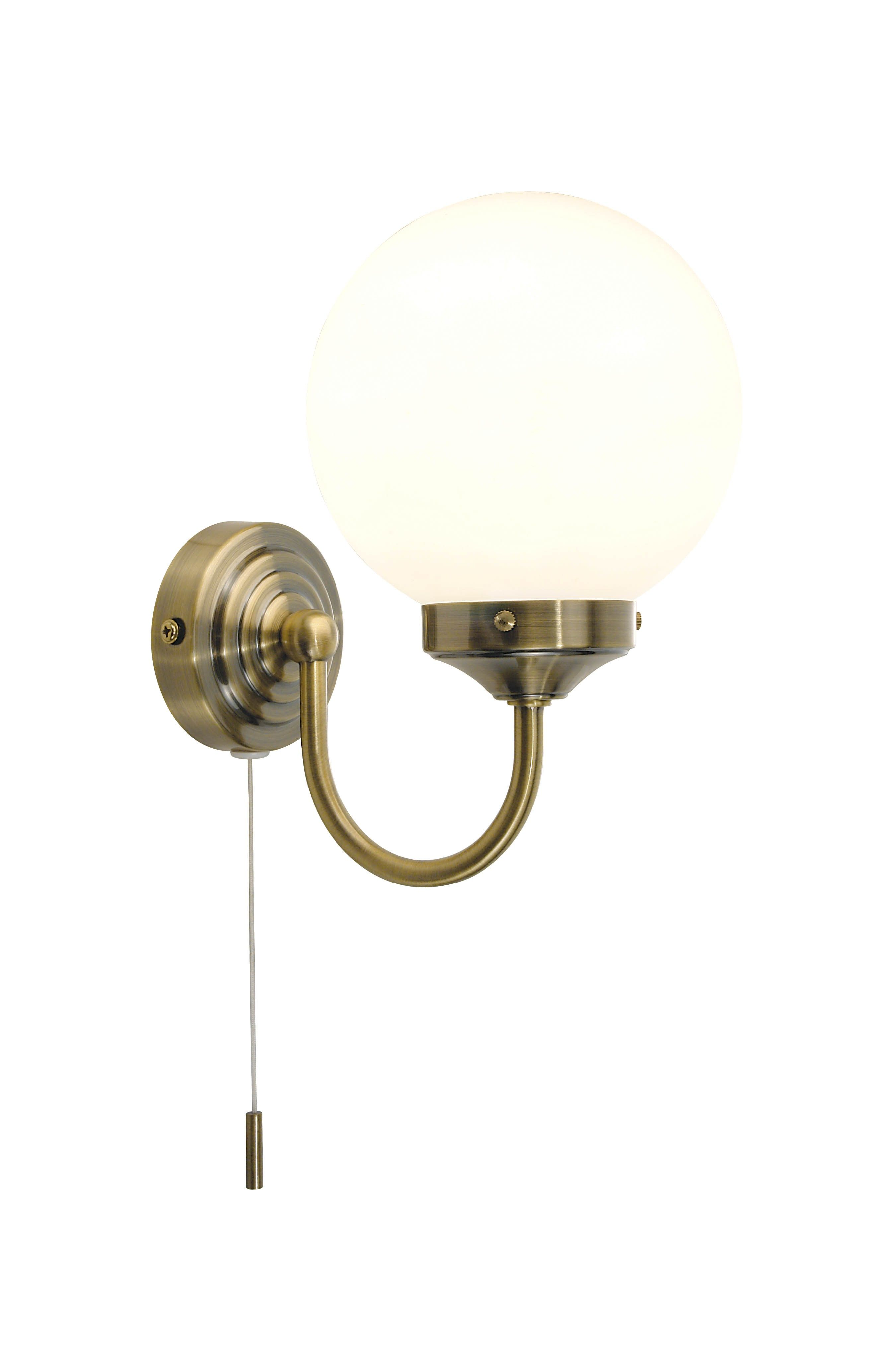 Antique Brass 40w Ip44 Wall Light With Pull Cord Switch Wall