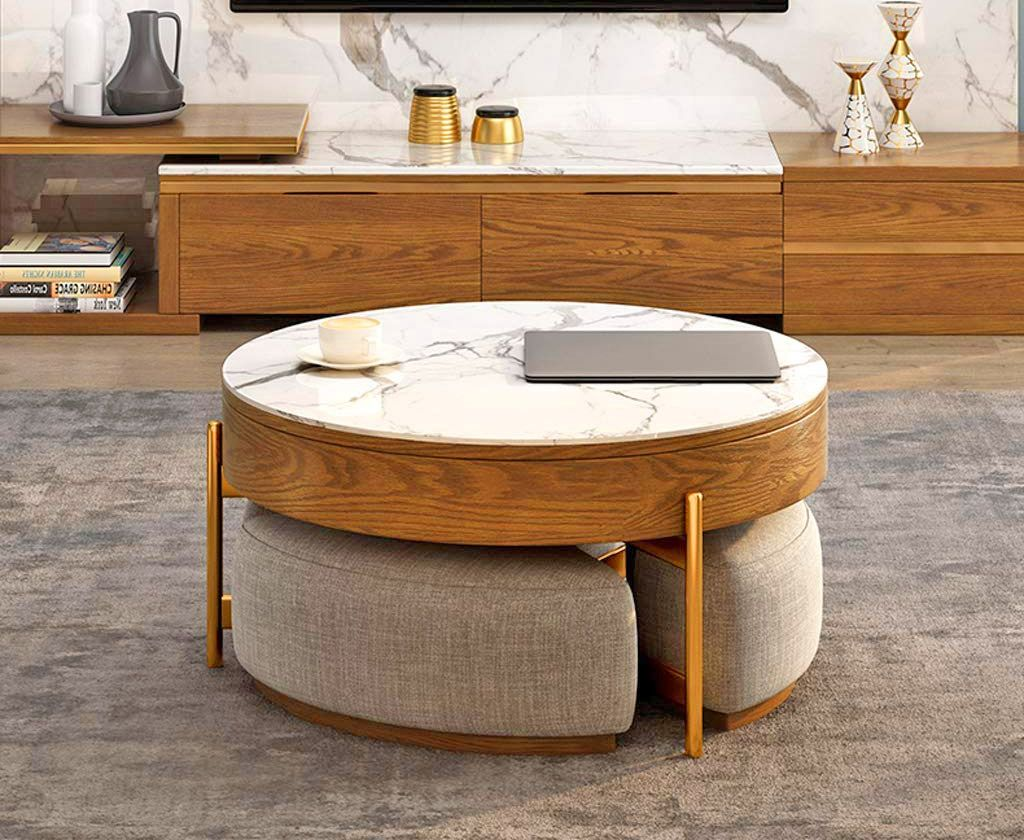 This Amazing Rising Coffee Table Has 3 Integrated Ottomans That Hide Underneath It In 2021 Coffee Table Small Space Coffee Table Coffee Table With Seating [ 840 x 1024 Pixel ]