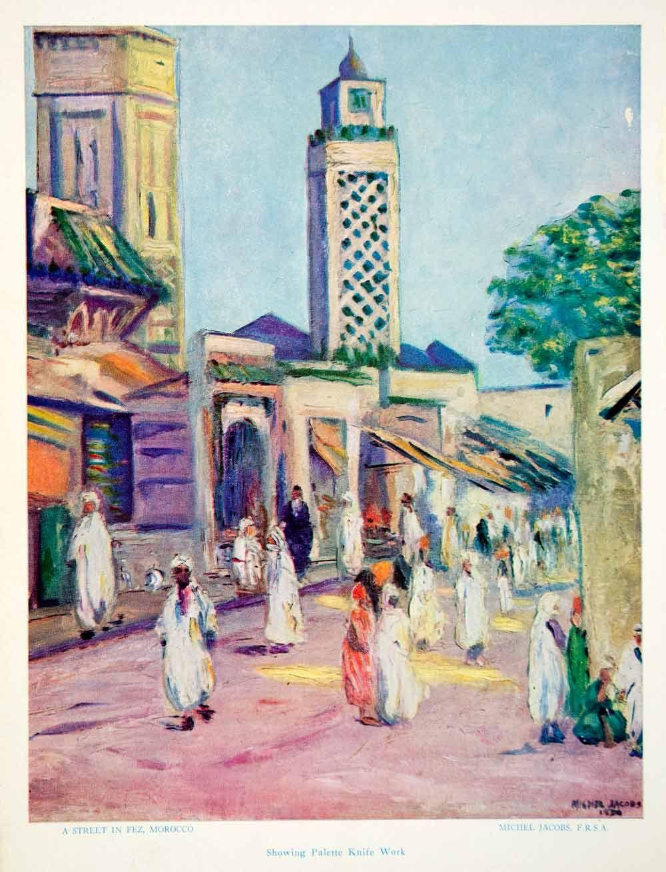 1956 Print Michel Jacobs Street Fez Morocco Cityscape Merchants Tower Market Art