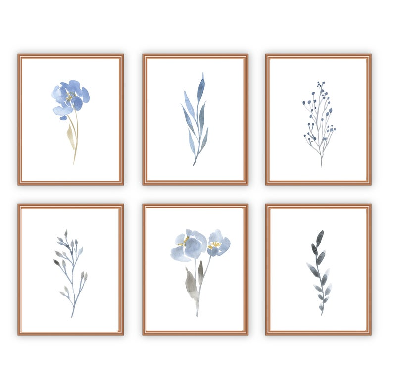 Small Blue Floral Singles Set Of 6 Wall Art 8x10 Flower Wall Etsy Floral Wall Art Prints Botanical Wall Art Flower Wall Art