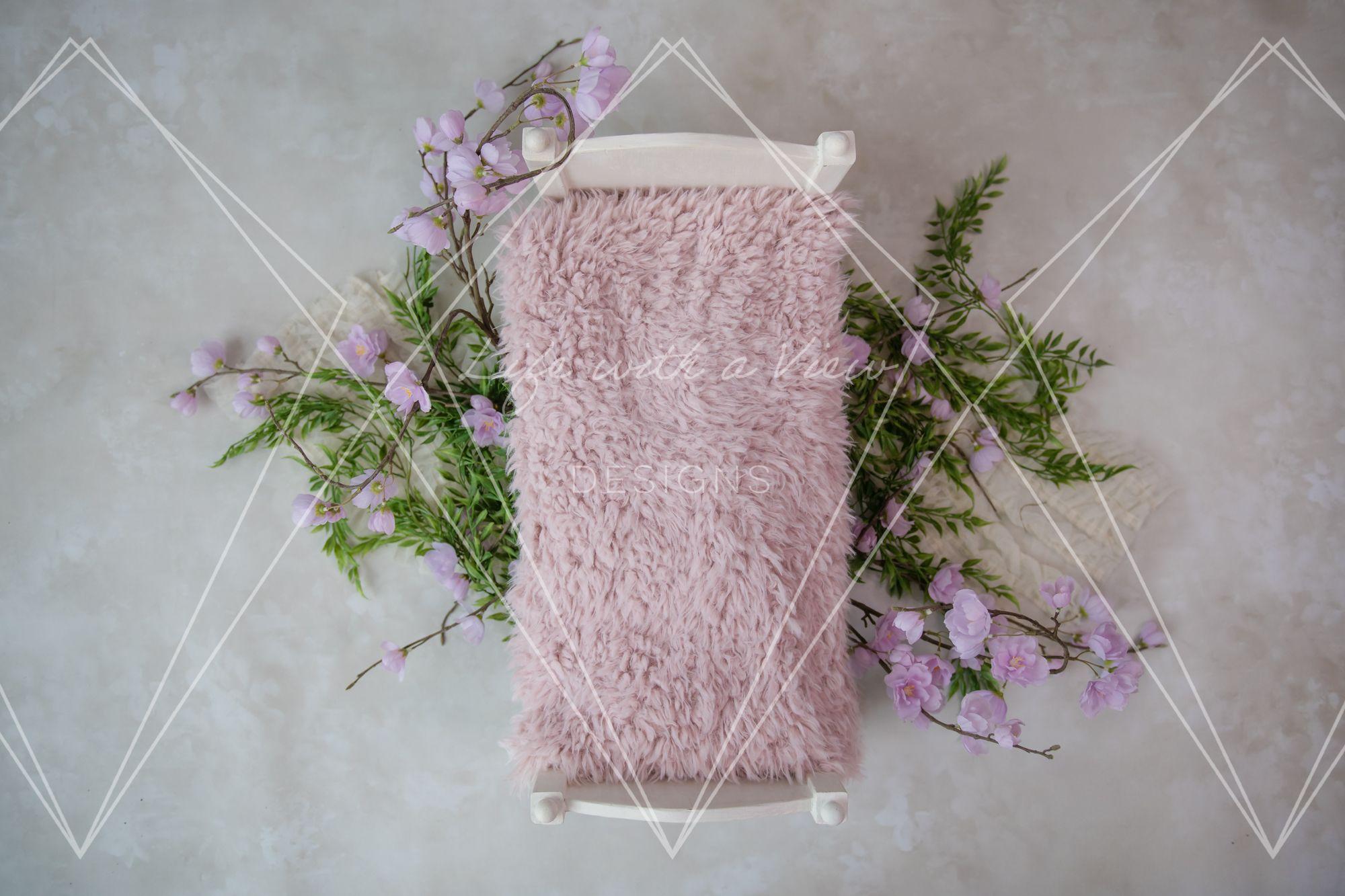 Purple Floral Bed Newborn Digital Backdrop, Digital Newborn Background