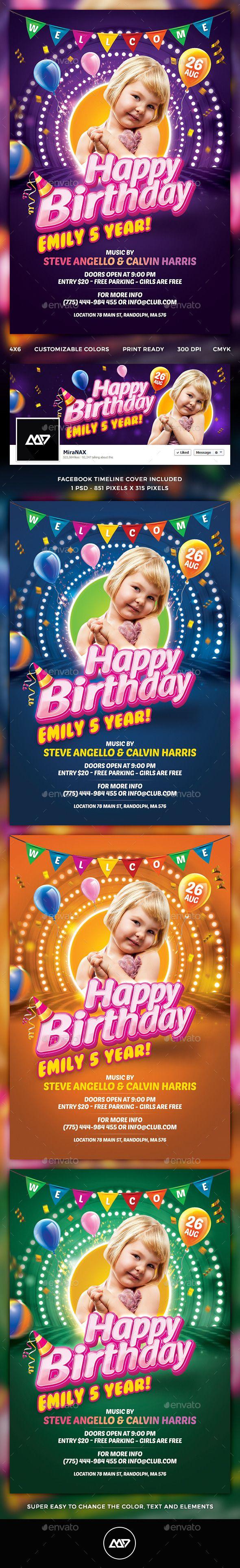 Kids Birthday Flyer  Kids Birthday Party Invitations Psd