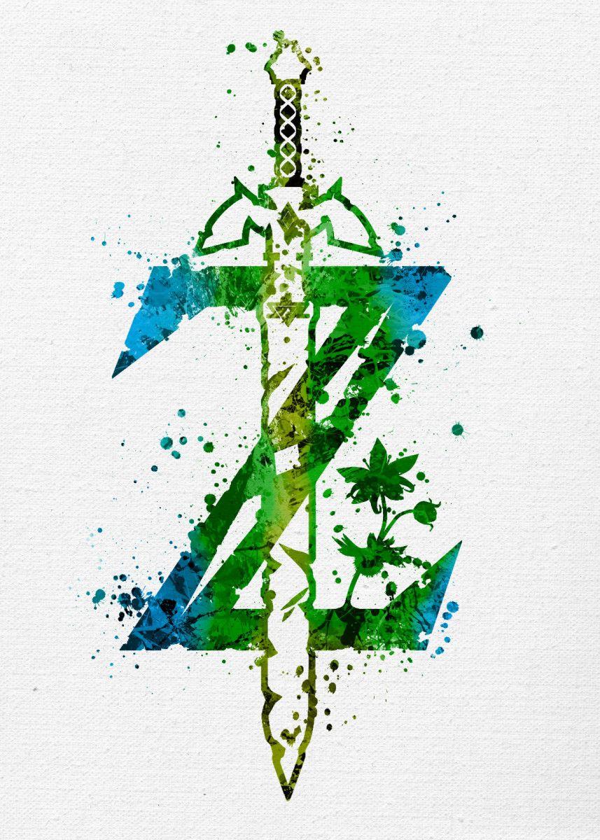 Zelda Breath Of The Wild Gaming Poster Print Metal Posters Displate Zelda Tattoo Legend Of Zelda Tattoos Breath Of The Wild