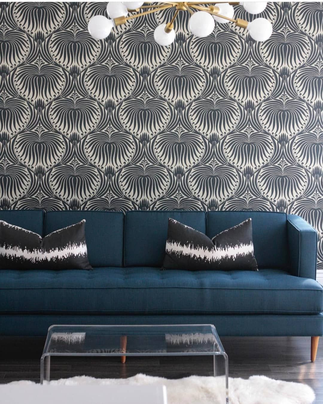 Beautiful Monochrome Wallpaper With Statement Lighting And A