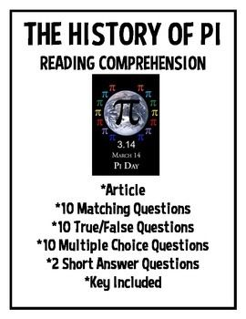 History of Pi Day Reading Comprehension Worksheet, March