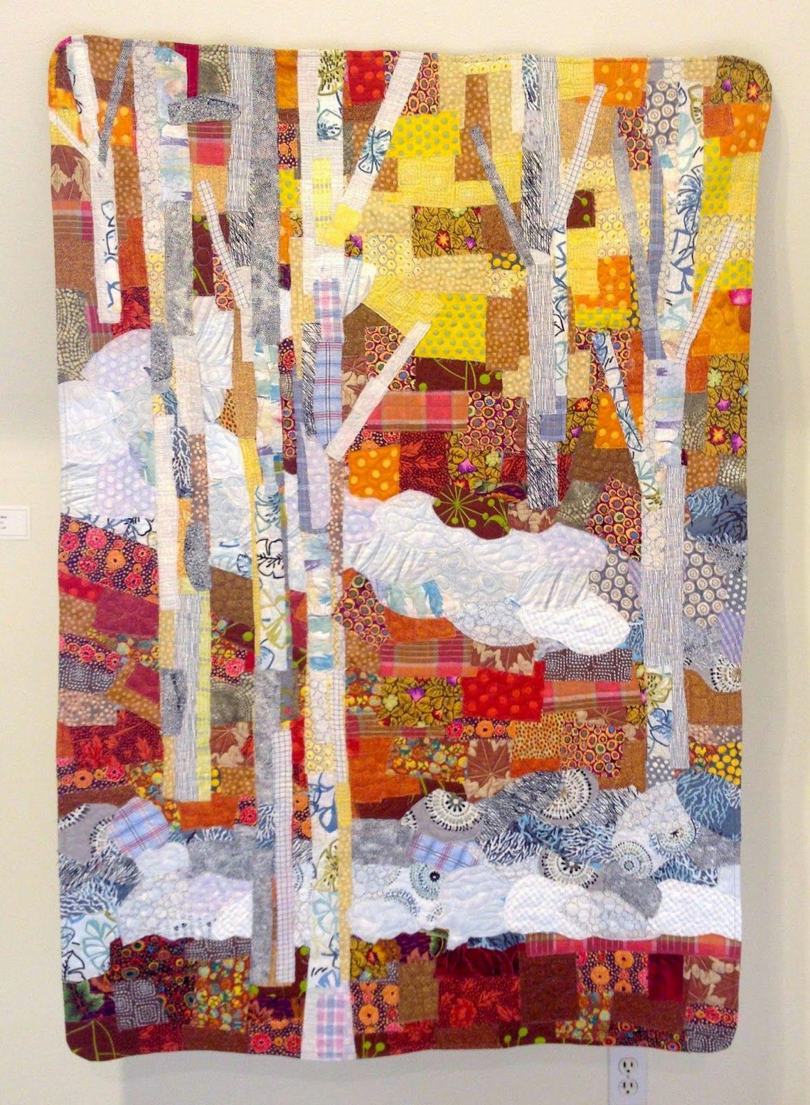 lovely autumn silver birch trees collage art quilt, pieced