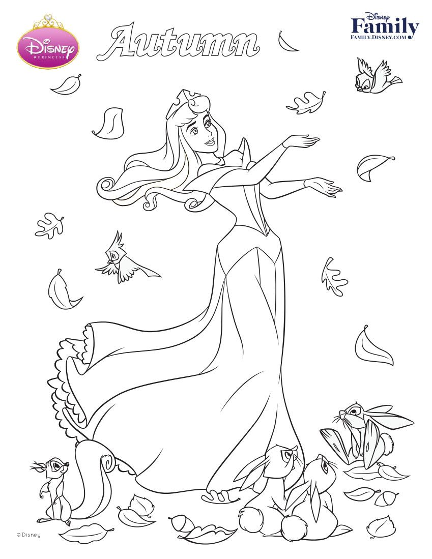 Autumn Princess Aurora Free Coloring Page Printable 849×1099