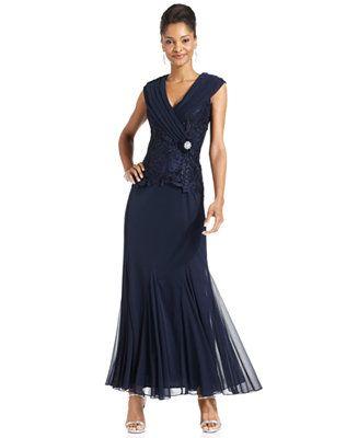Patra Cap Sleeve Lace Gown Dresses Women Macy S Mob Dresses