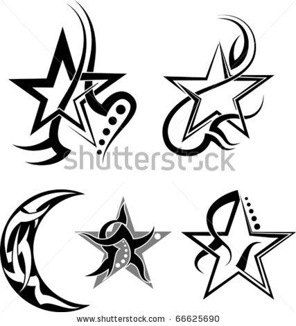 Star Moon Tribal Tattoo Star Tattoos Tribal Tattoos Feather Tattoos