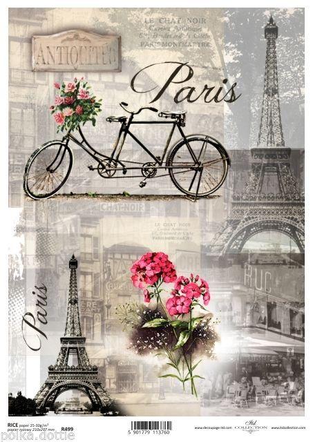 Rice Paper Decoupage Scrapbook Embellishments Sheet Vintage Paris Eiffel French