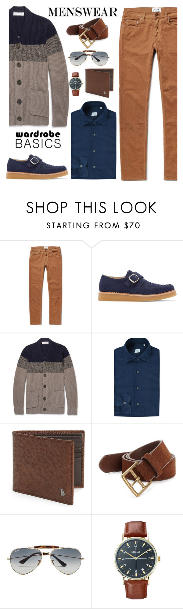 """""""Menswear"""" by ana-angela ❤ liked on Polyvore featuring Acne Studios, Diesel, Brunello Cucinelli, Slowear, Tod's, Polo Ralph Lauren, Ray-Ban, Breda, mens y men"""