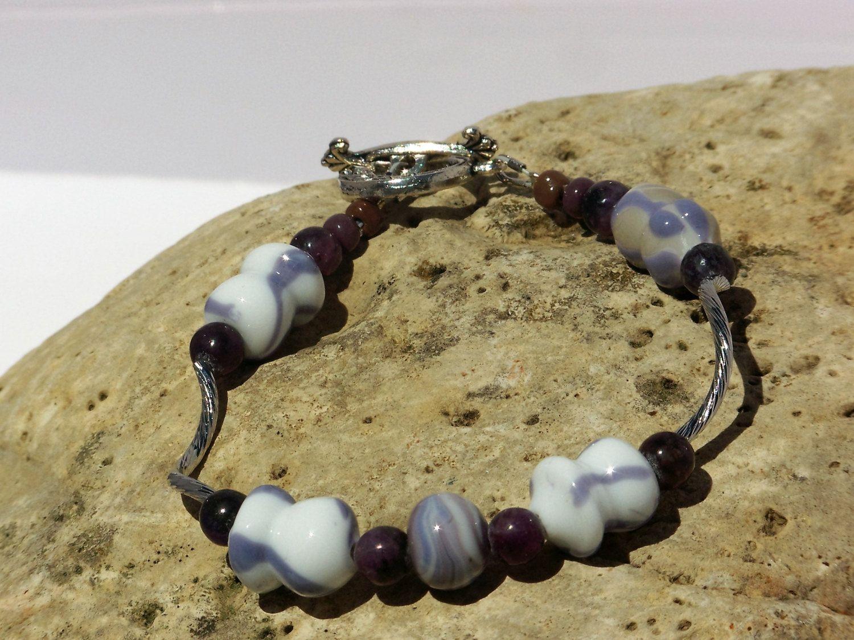 OOAK PURPLE & WHITE Bracelet by blingo10 on Etsy