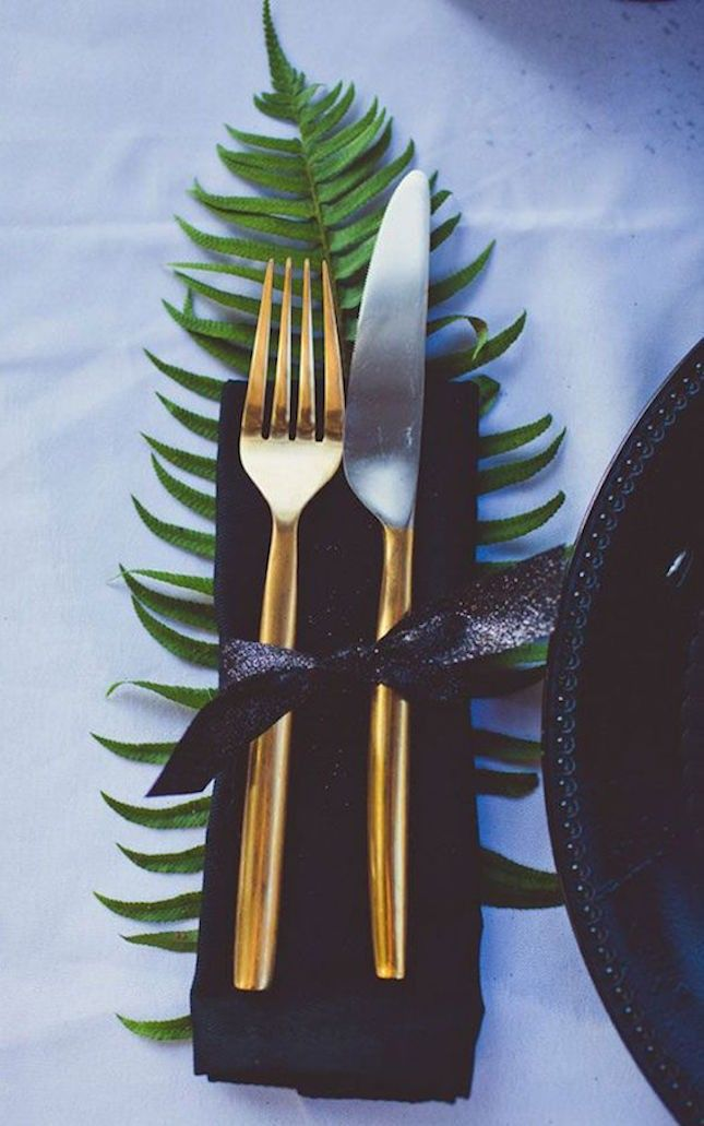 Bring a touch of the outdoors into your holiday party with fern leaves.