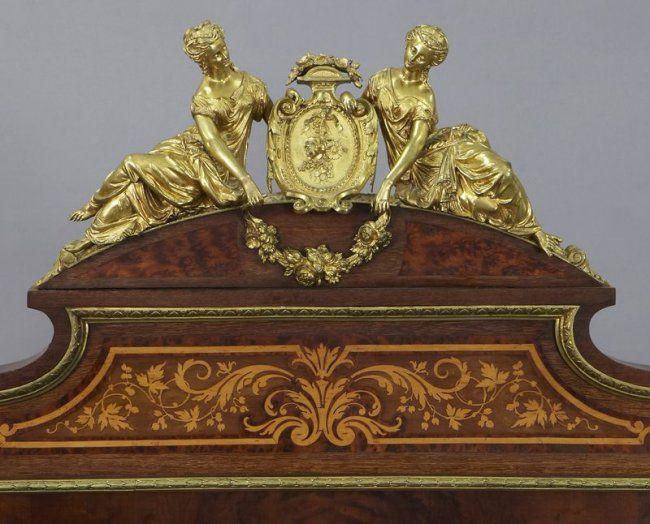 70: Louis XVI style ormolu mounted marquetry bed, : Lot 70