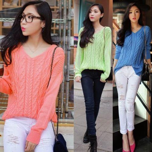 Trendy V Neck Long Sleeve Twist Crochet Knitting Womens Sweater Jumper Knitwear
