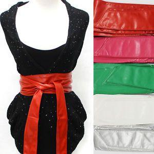Leather Tie Corset Wide Kimono Wrap Cinch Waistband OBI Belt Red Long | eBay