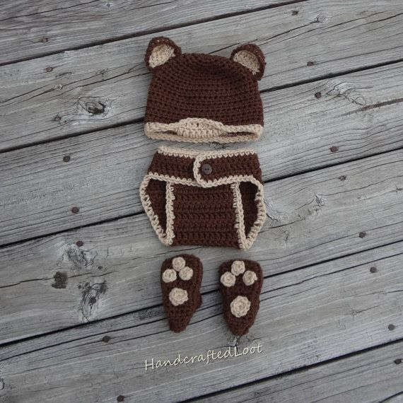 029798a97 Newborn Baby Crochet Teddy Bear Photo Prop Outfit Bear Hat Diaper Cover Bear  Paw Shoes Set Shower Gift 0-3 Months Crochet teddy bear hat &