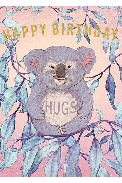 Happy Koala Greeting Card Papaya Happy Birthday Greeting Card Happy Bird Day Birthday Hug