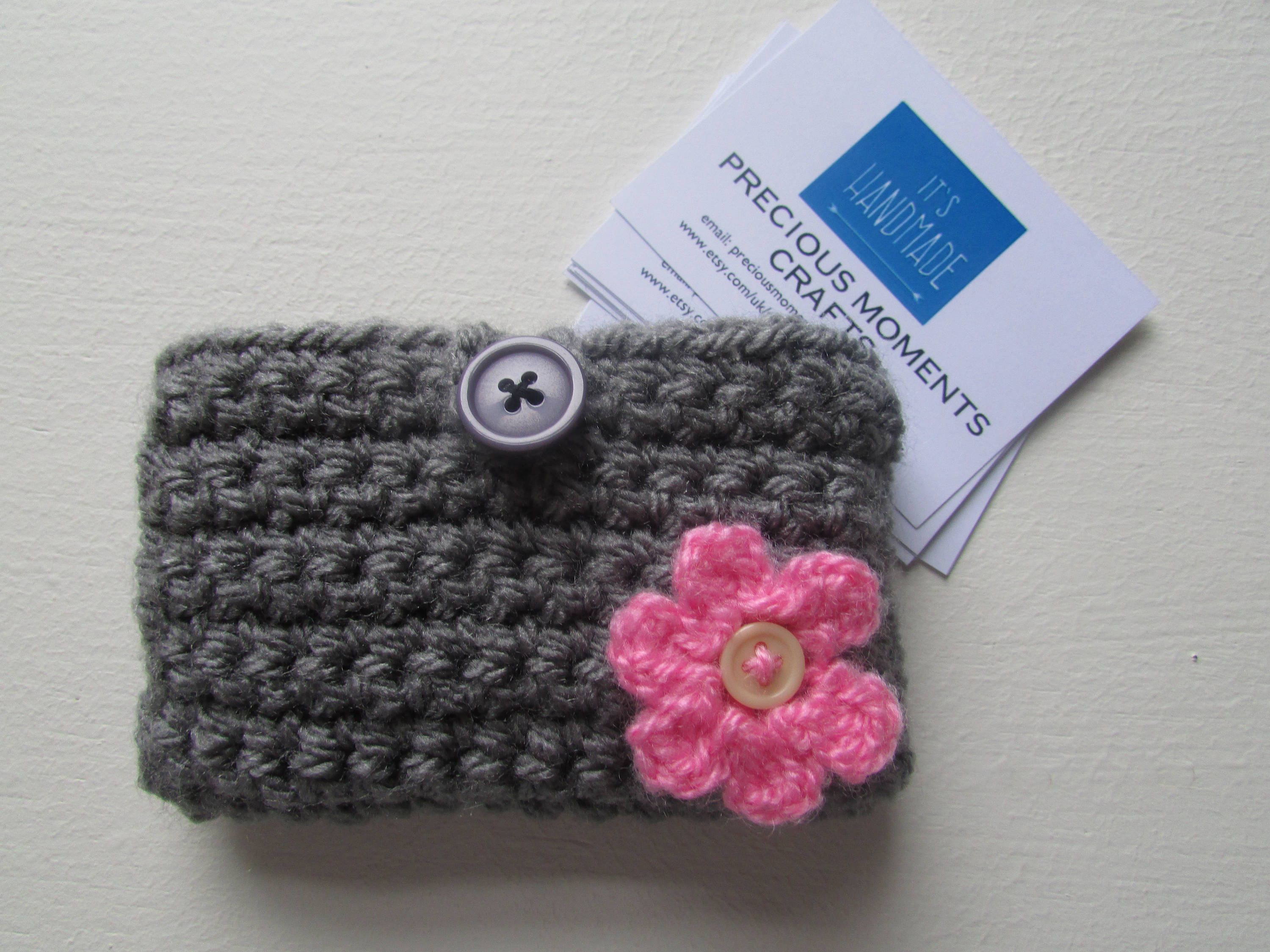 Crochet business card pouch holder with flower by ...