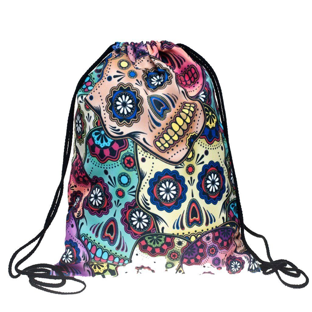 Mexican Skull Simple Bags Polyester One Size Digital Printed - My ... f6c41770326