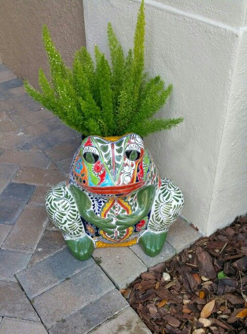 Cute Talavera Planter Frog Painted Flower Pots Garden Frogs Frog Theme