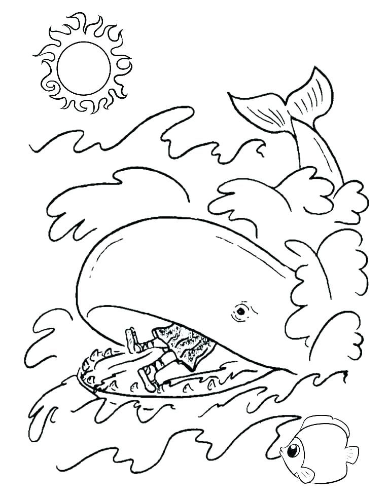 Jonah And The Whale Coloring Page Printable Free