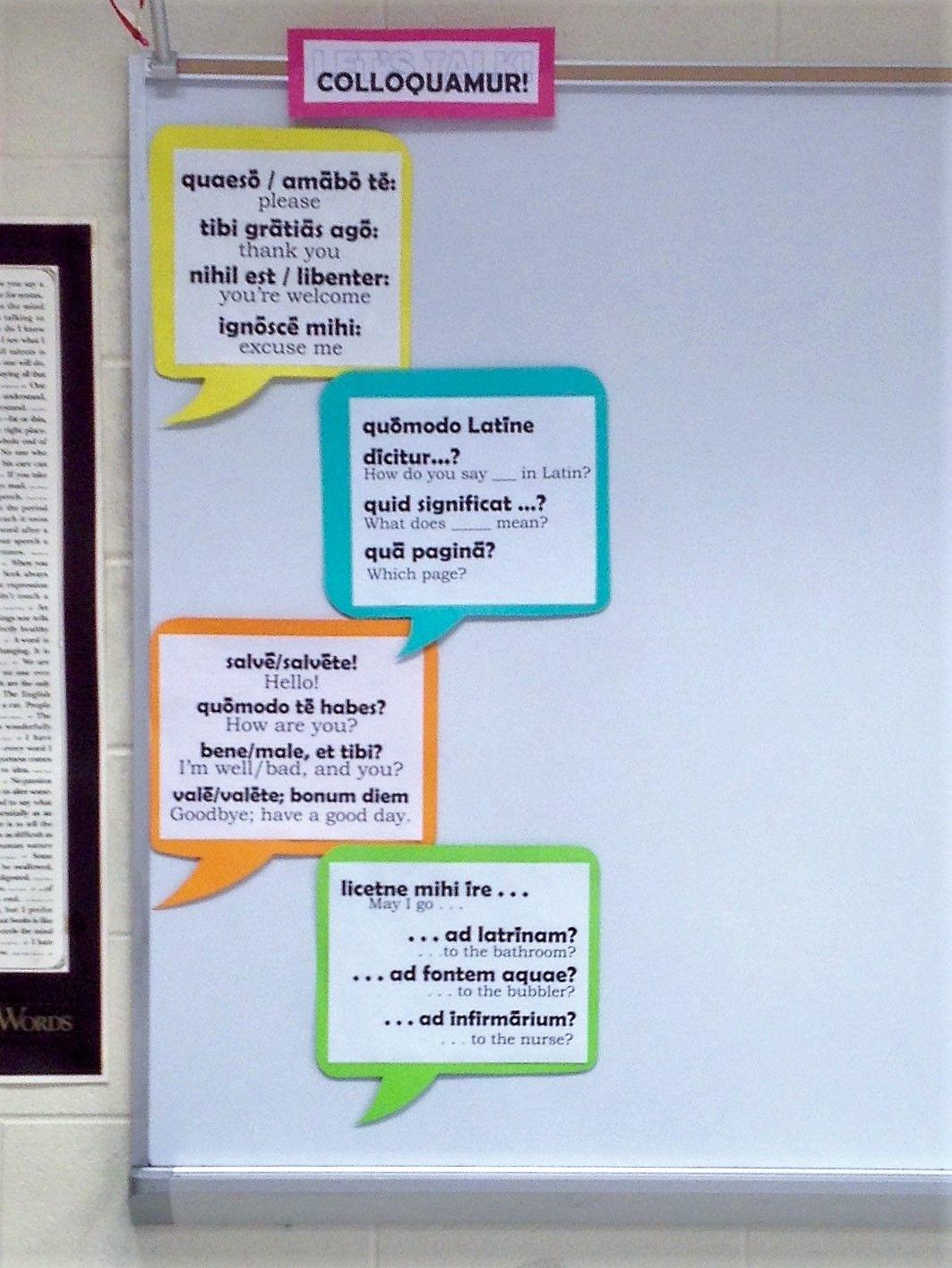 Basic Latin Classroom Conversation Anchor Charts Super Easy Using
