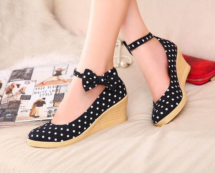 Womens Bowknot Polka Dot Wedges Straw Weave Ankle Strap Sweet Girls Sandals Cute