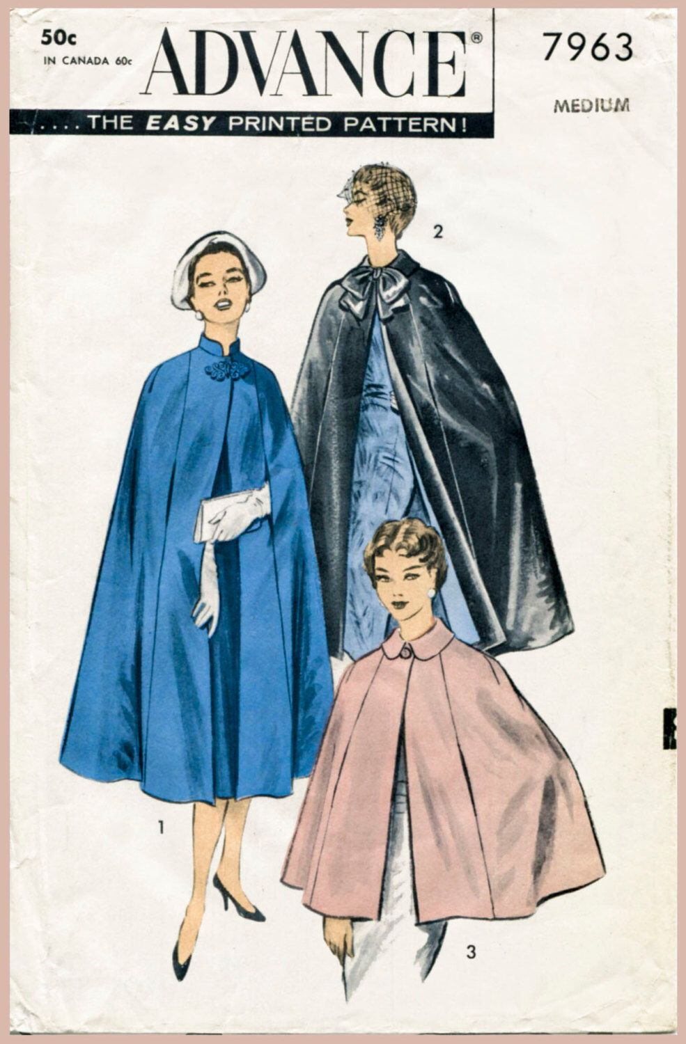 1950s 50s Vintage Women\'s Sewing Pattern Day & Evening Cape bow ...