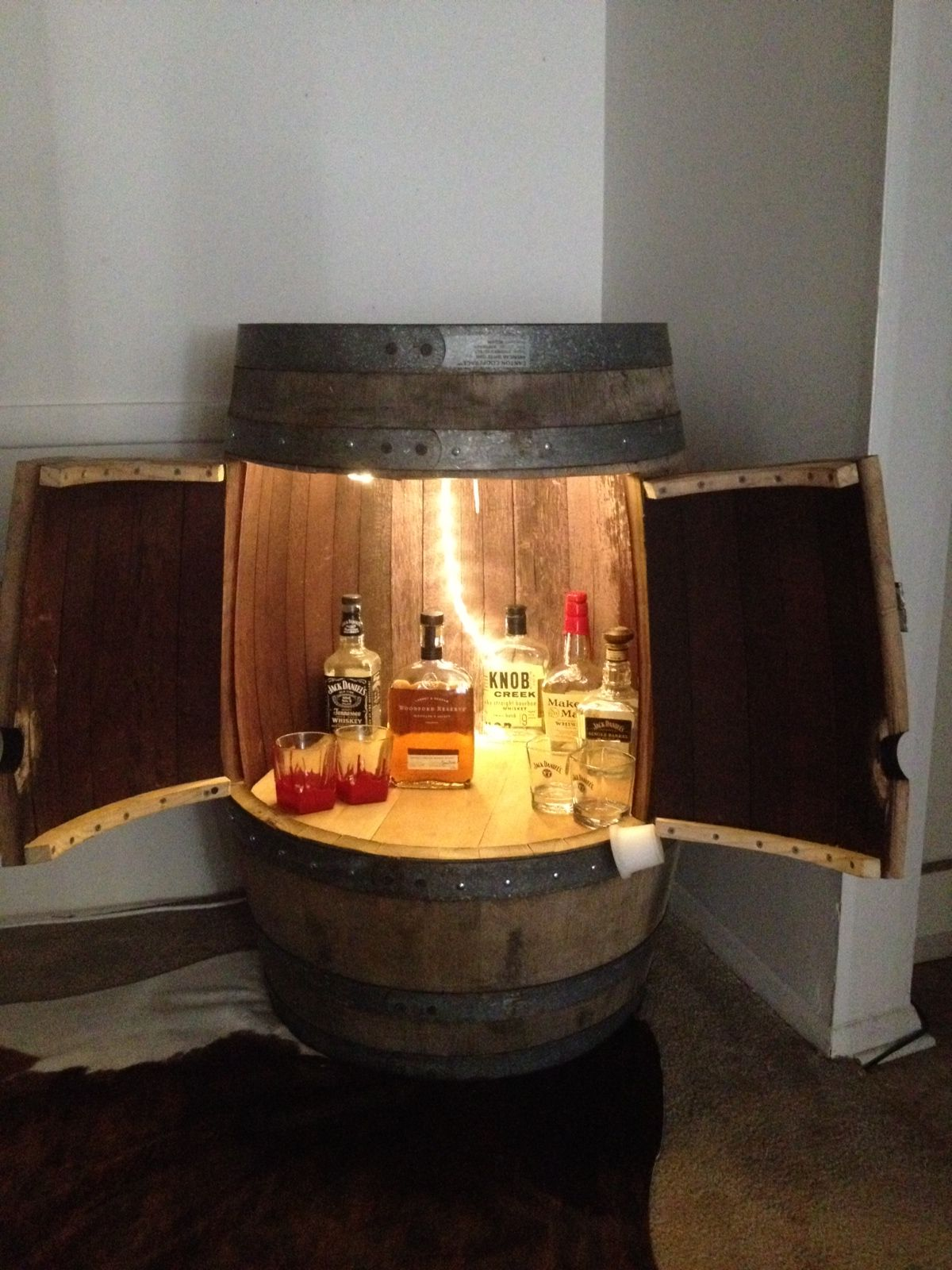 Whiskey barrel for a liquor cabinet. My brother made this! | DIY ...