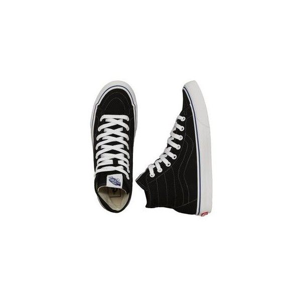 8e9bc181b5f553 Vans Sk8-Hi Decon Canvas Black True White Shoes ❤ liked on Polyvore  featuring shoes