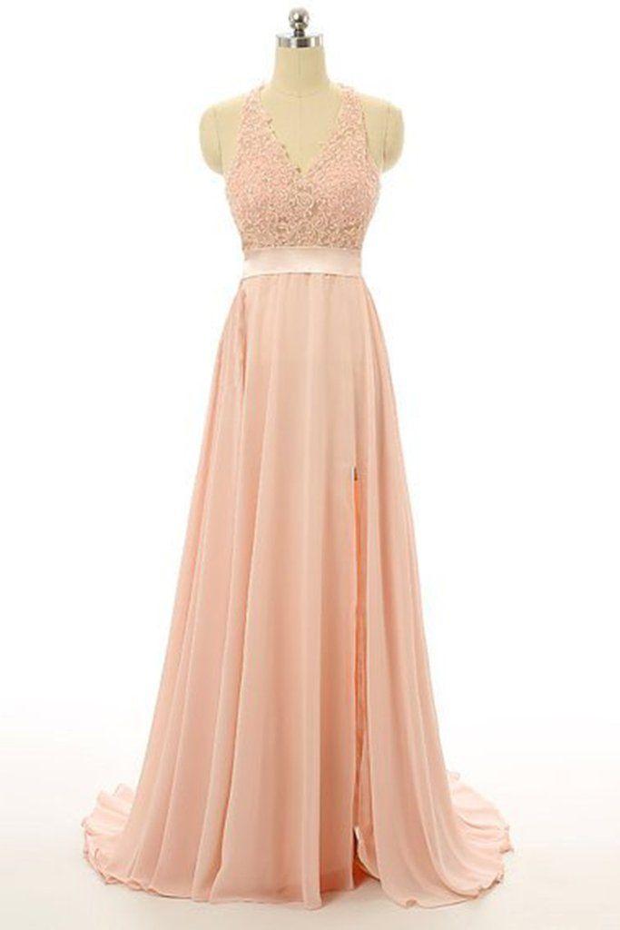 2cddc4c23df Light orange chiffon lace V-neck backless slit A-line long prom dress