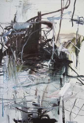 Sans titre - aqua - 60P, 2012, 130 x 89 cm, medium et huile sur toile.