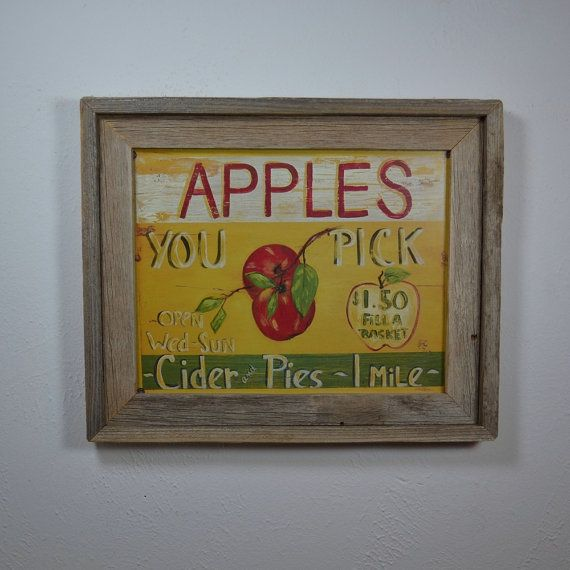 Beautiful country style You Pick Apples print in rustic barn