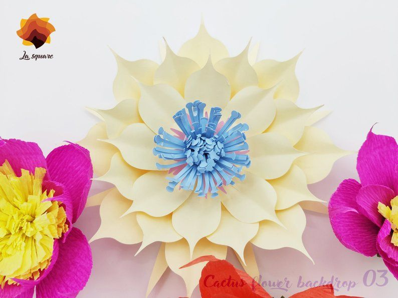 Giant Paper flowers SVG paper flower template flower template PDF DXF Jpg Png files for Cricut silhouette flower tutorial Lalia 06-10