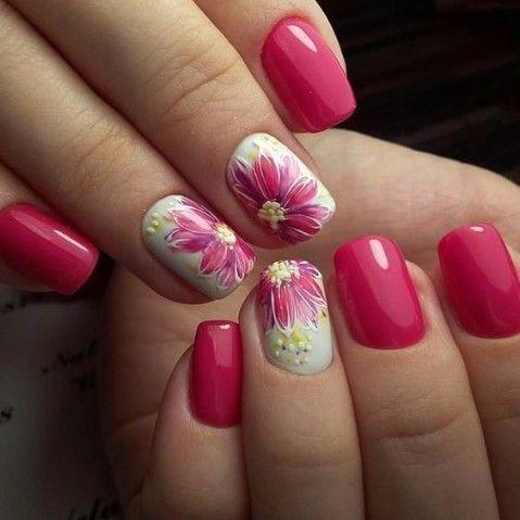 Magenta Floral Nails Girly Nails Girl Nail Nail Art Floral Nails