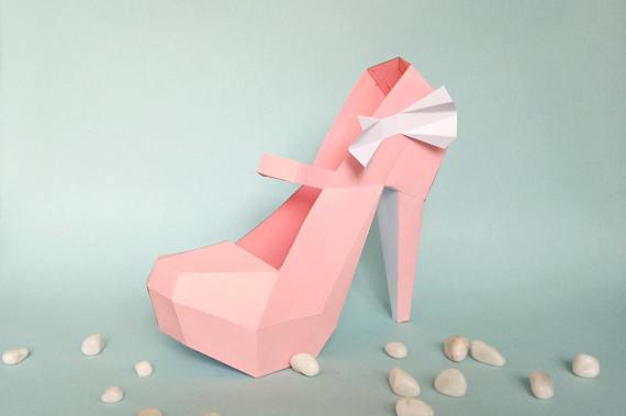 DIY paper model, High Heel Shoe, 3d Papercraft, Instant