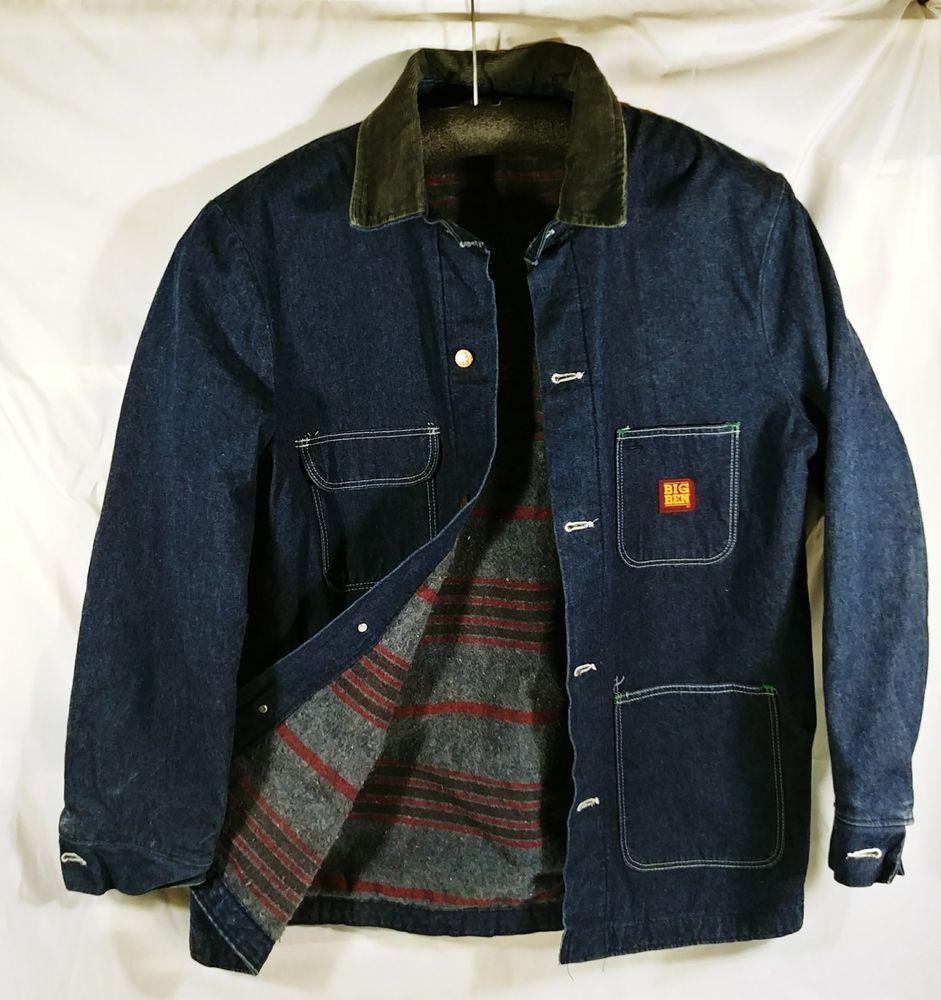 6837ebd9ab Vintage Big Ben Jean Jacket Blanket Lined Denim Barn Coat 44 Long Wrangler   BigBen