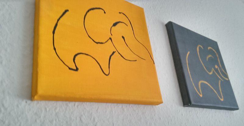 bilder kleine wandbilder elefanten 2er set tiere 20x20 ein designerst ck von kreativ. Black Bedroom Furniture Sets. Home Design Ideas