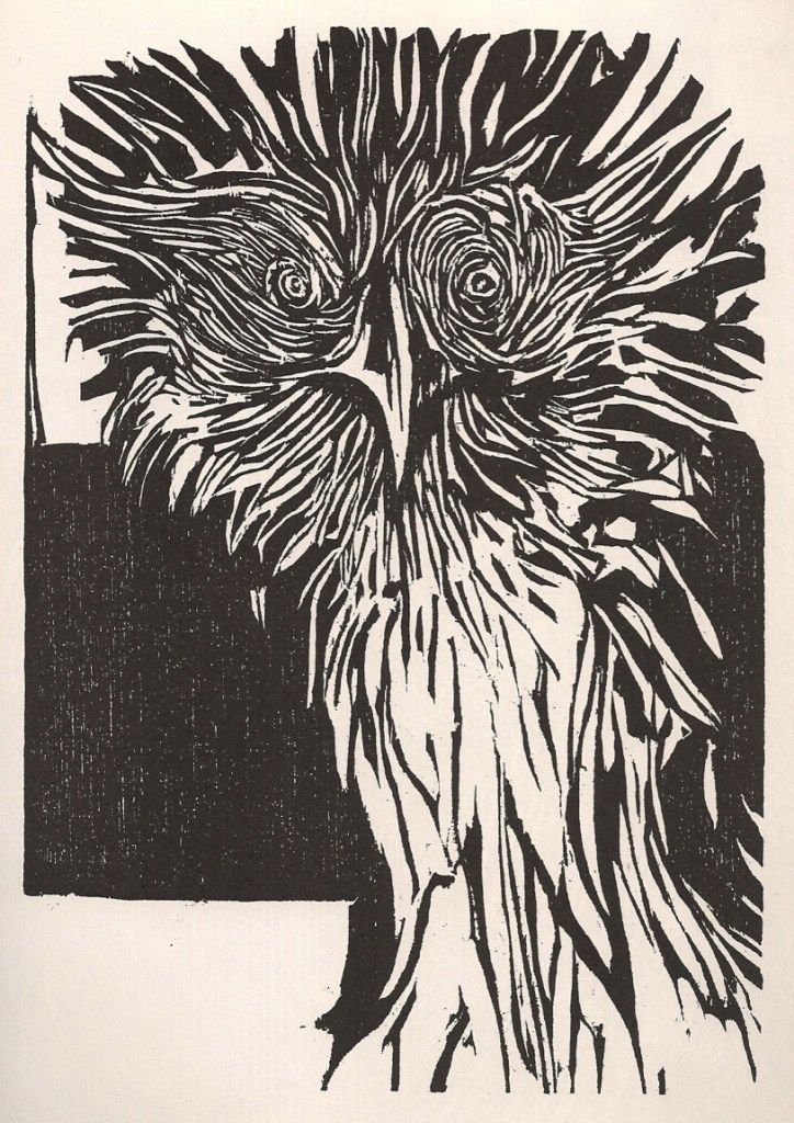 Leonard Baskin: Monkey Eating Eagle (1981) Woodcut