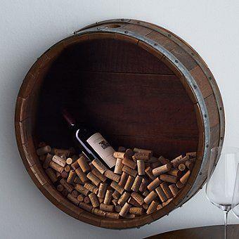 Reclaimed Wine Barrel Head Cork Collectors Display