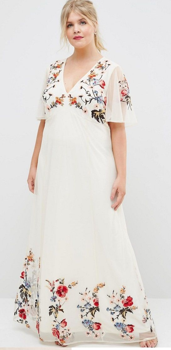 Plus Size Floral Maxi Dress in Embroidered Mesh