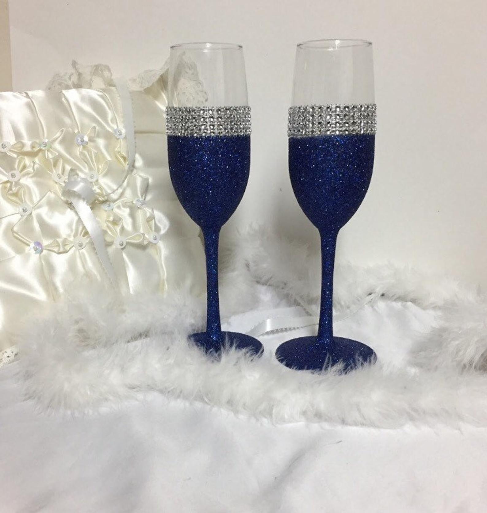 Wedding Toasting Flutes Champagne Flutes Navy Blue Glitter Etsy