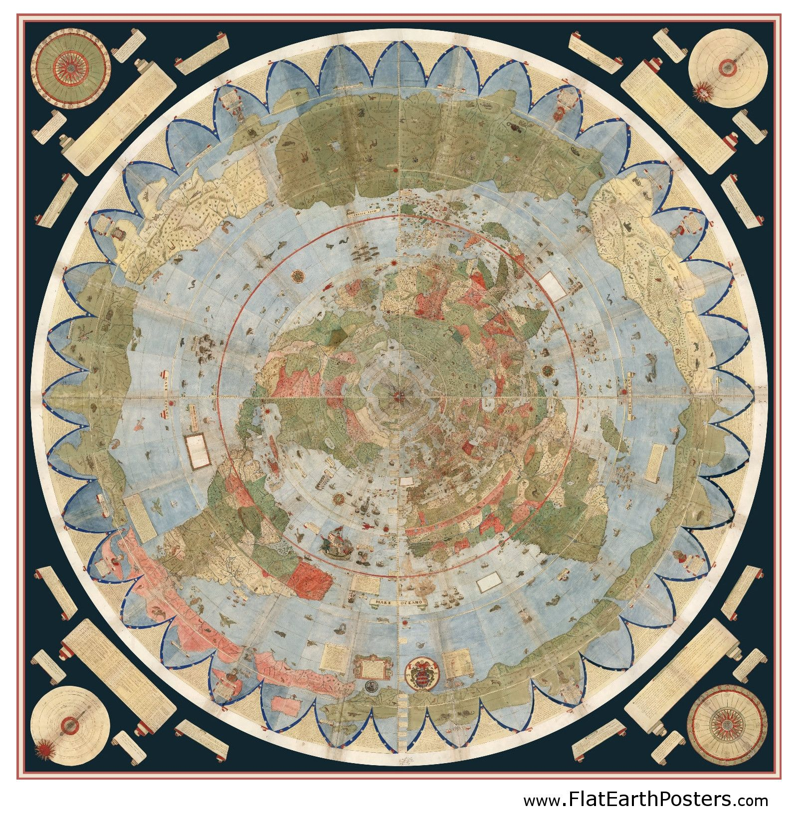 Ancient Flat Earth Map Poster   Urbano Monte 1587 | The flat earth
