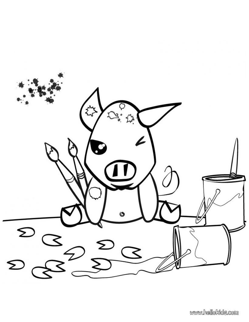 Painting pig coloring page. Cute and amazing farm animals coloring ...