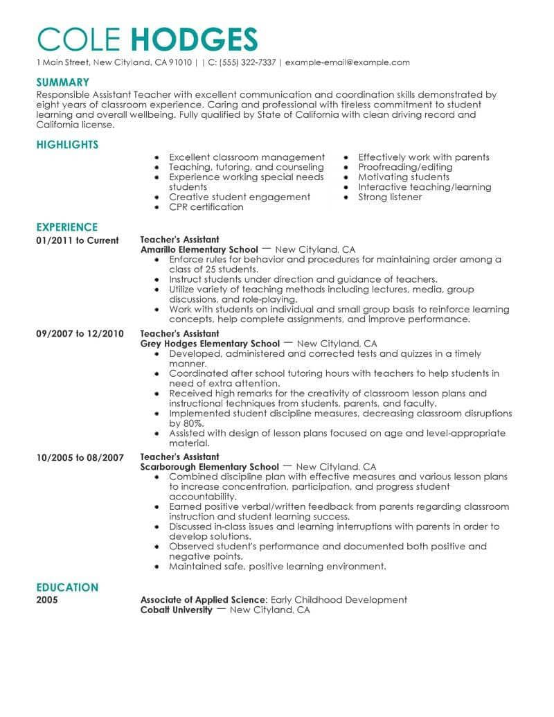 Resume Examples Of Education Teacher assistant, Resume